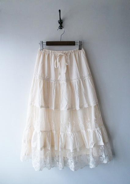 スラブローンレースロングスカート