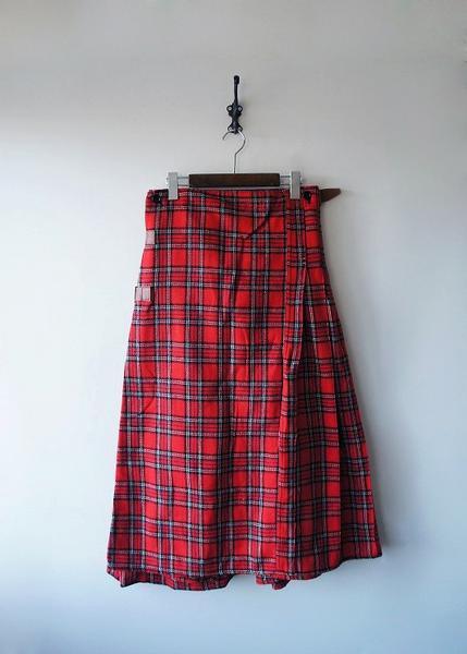 KAPITALウールチェック巻きスカート風パンツ