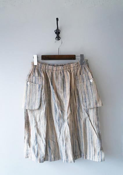 USAATO草木藍染め加工平織りレイヤードイージースカート