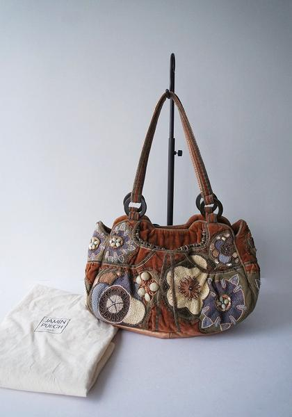 JAMIN PUECHビーズ付フラワー刺繍ベロアハンドバッグ