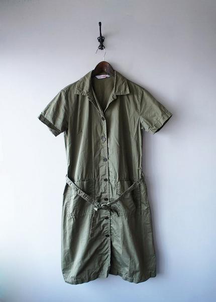 homspunオープンカラーシャツワンピース