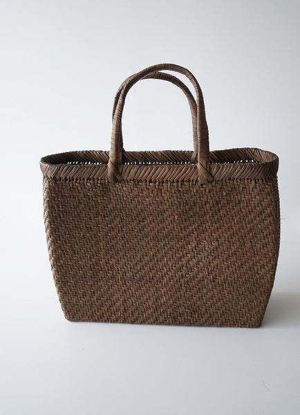 伝統工芸品手提げ網代編みかごバッグ