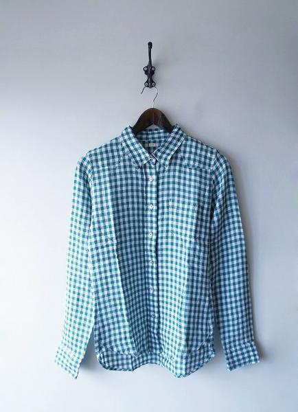 リネンギンガムチェックシャツ