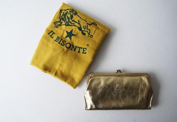 IL BISONTEゴールドレザーがま口長財布