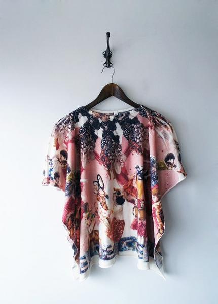 あちゃちゅむウール天竺女スカーフプリントTシャツ