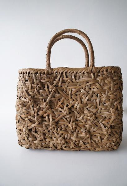 伝統工芸品乱れ花模様編み かごバッグ