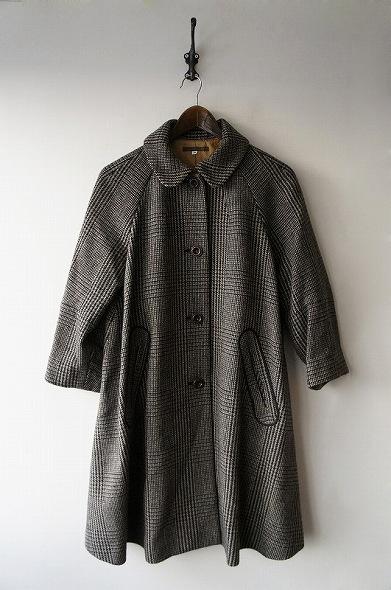 グレンチェック丸衿ウールコート