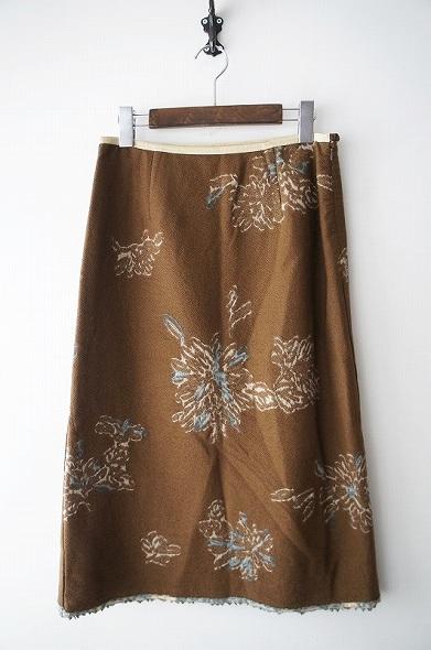 花柄ウールスカート