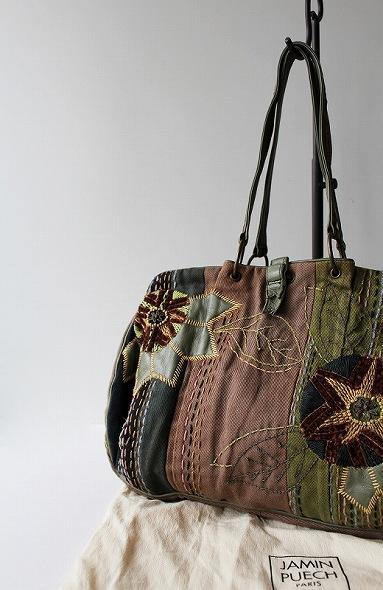 刺し子お花刺繍コットンキャンバスハンドバッグ