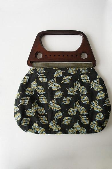 落ち葉刺繍 オリジナルウッドハンドルバッグ