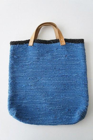 梅原和香インディゴ 裂き織りバッグ