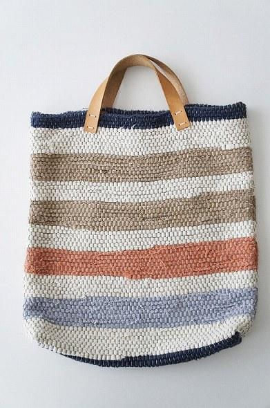 ボーダー多色織り 裂き織りバッグ
