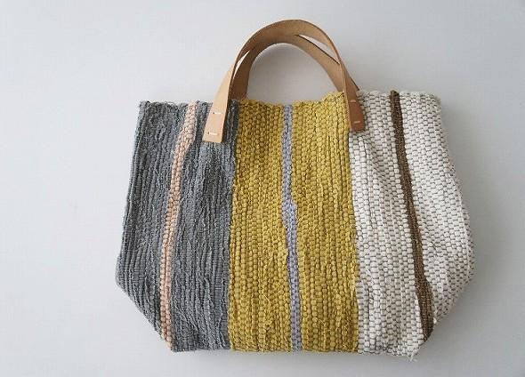縦縞 多色織り 裂き織りバッグ