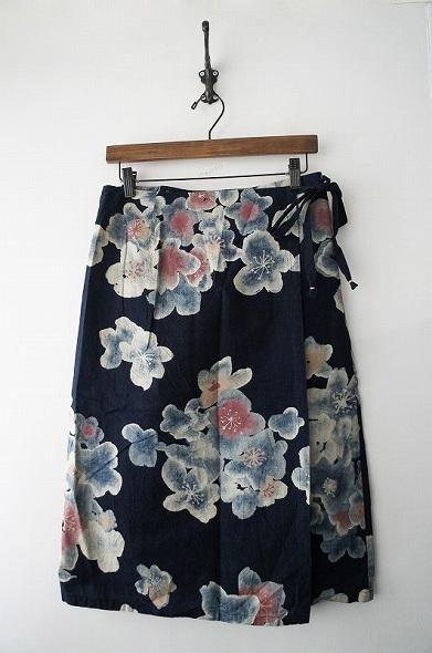 インディゴフラワー巻きスカート
