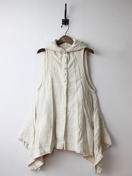 手織りフード付きフレアワンピース