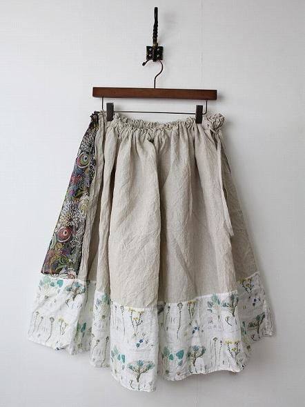 植物柄 リネン切替スカート