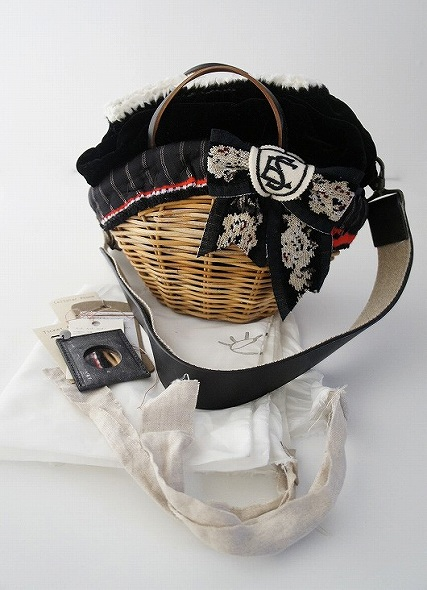 シェニール織りリボン2wayかごバッグ