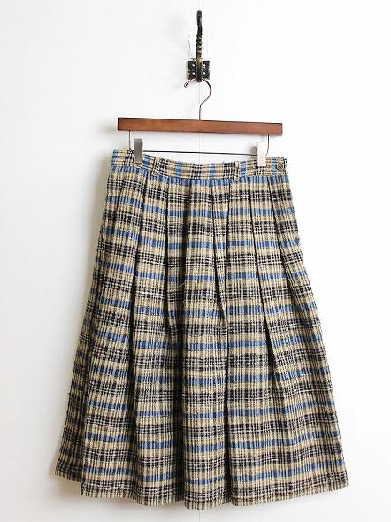 タッサーシルク丹波布格子写しスカート