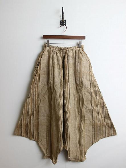 天然草木染め 織柄 ストライプ ムササビ パンツ
