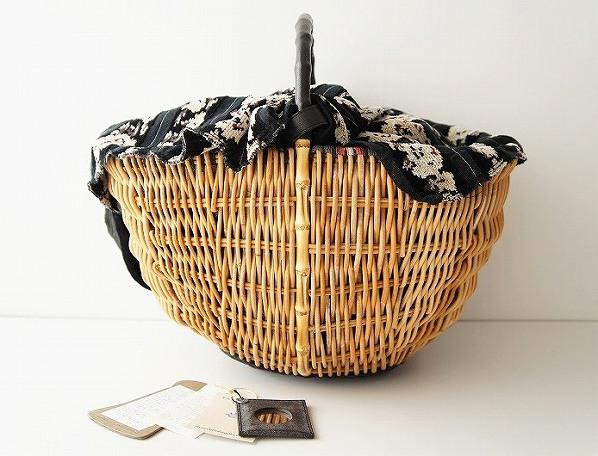 シェニール織り 被せ付き かごバッグ