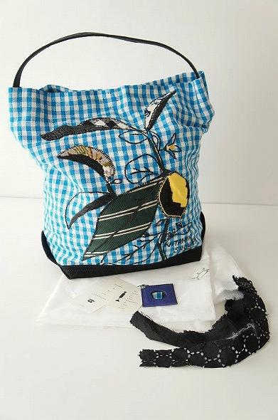 ワンショルダーレモン刺繍布バッグ