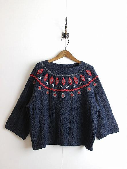 4545祭り限定 インディゴ刺繍 ニットセーター