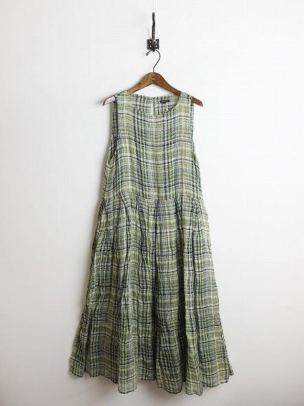 リネン チェック ドレス