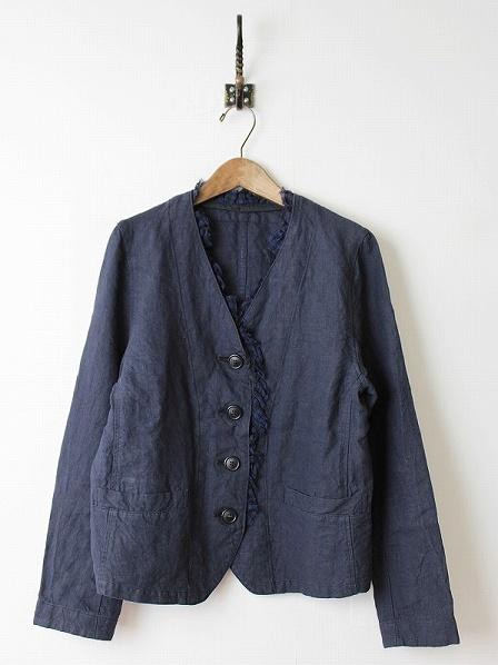 リネン取り外し衿付きジャケット