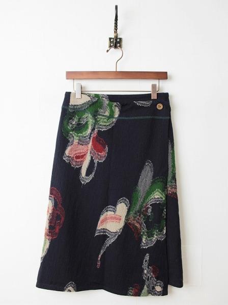 刺し子縮絨ウールラップスカート