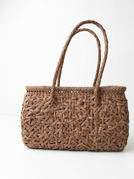 みだれ編み 横長 かごバッグ