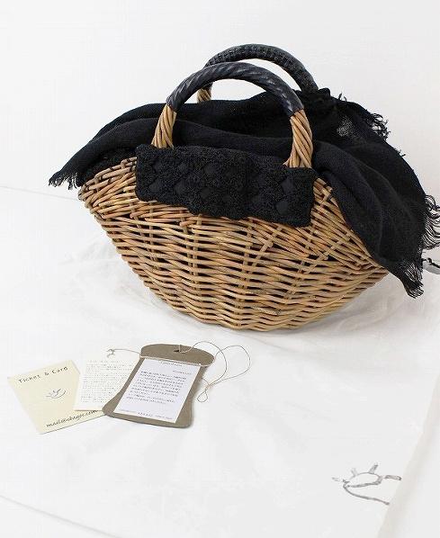 紅籐×レース刺繍リボン 扇型 かごバッグ ナチュラル+ブラック