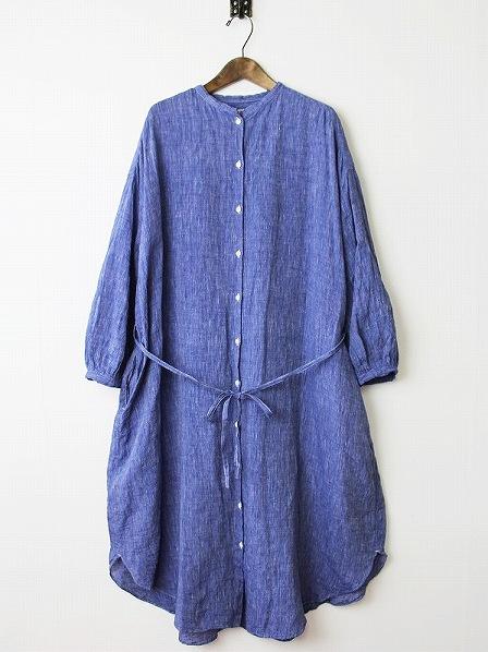 リネンロングシャツドレス
