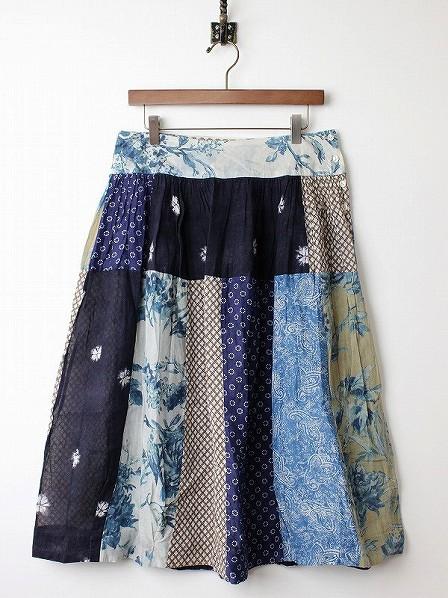インディゴ染め パッチワーク ギャザー スカート