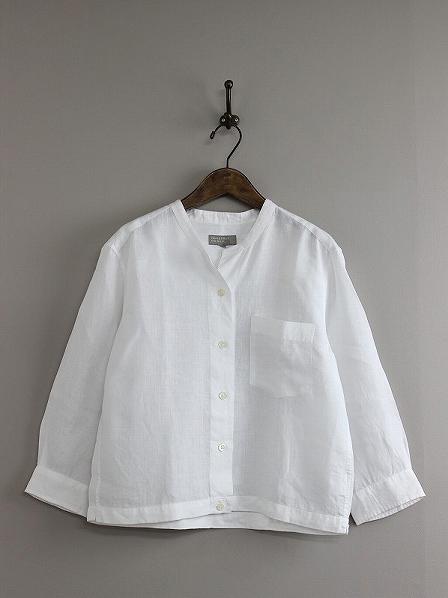 SHIRTING LINEN ノーカラーシャツ