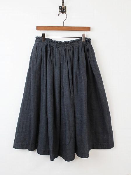 アニエス リネン ウール ギャザー スカート
