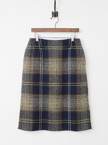 ダブル フェイス ツイード チェック スカート