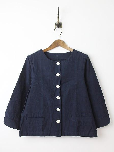 会津木綿 ノーカラー ジャケット