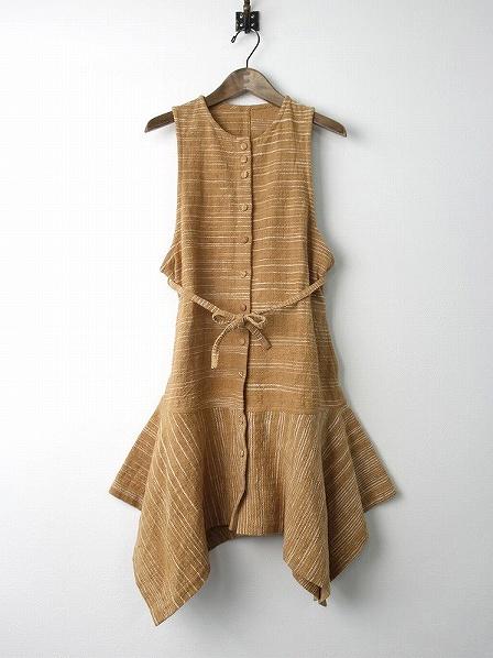 手織り ストライプ柄織り ノースリーブ ワンピース