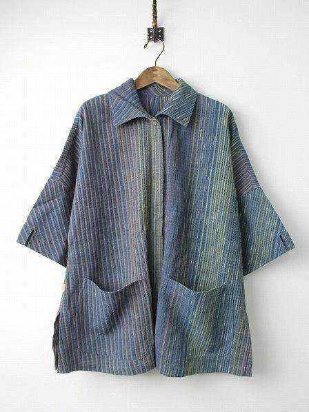 手織り 天然草木染め インディゴ ミックス ストライプ チュニック