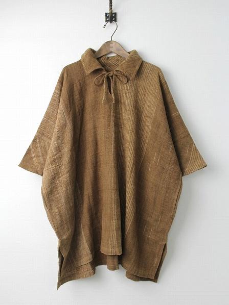 手織り 天然草木染め ワイド スキッパー ワンピース