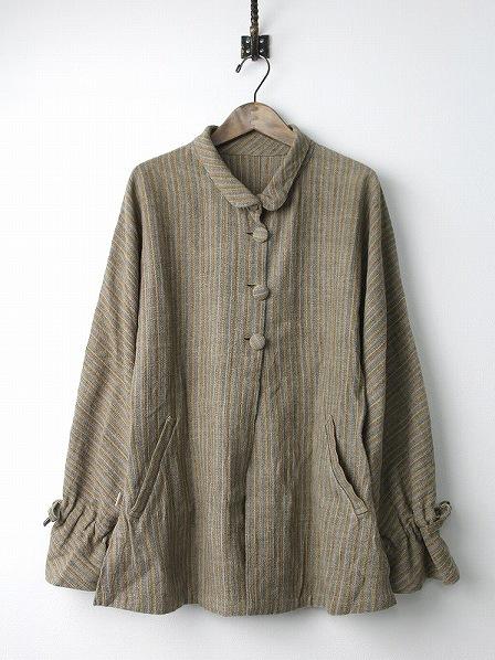 手織り 天然草木染め ミックス ストライプ ジャケット