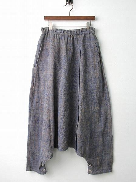 手織り 天然草木染め インディゴ2way サルエル スカート