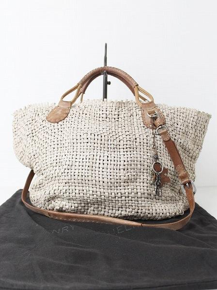 オミノ刺繍 チャーム付き メッシュレザーバッグ
