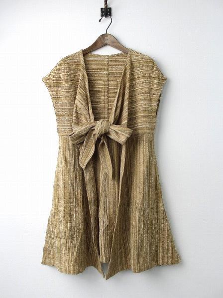手織り 天然草木染め ノースリーブ 羽織り ワンピース