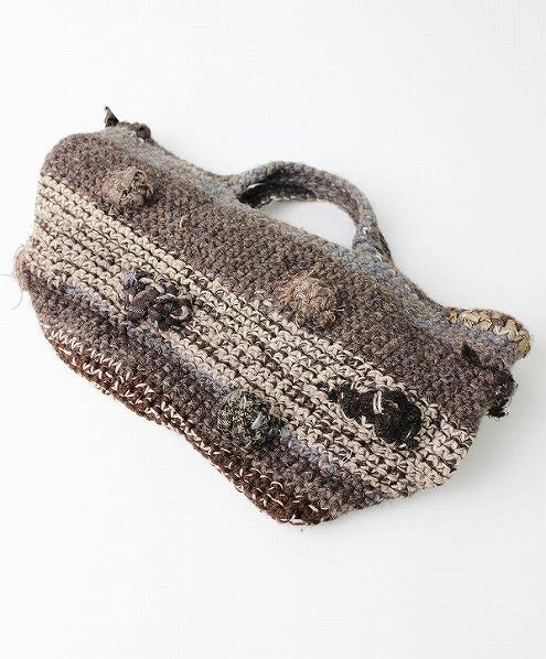 モチーフ編み ウール編みニットトートバッグ