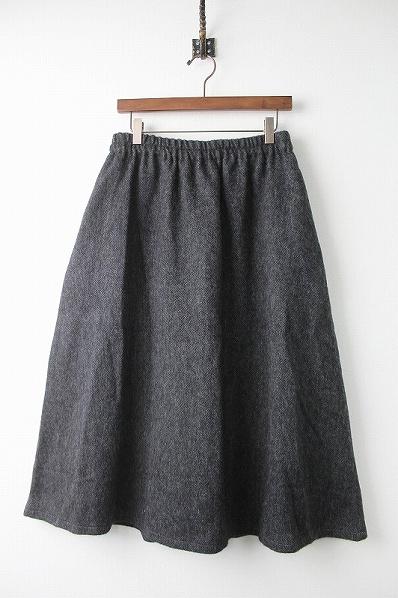 01174-1124 ウール リネン ヘリンボーン ギャザー スカート