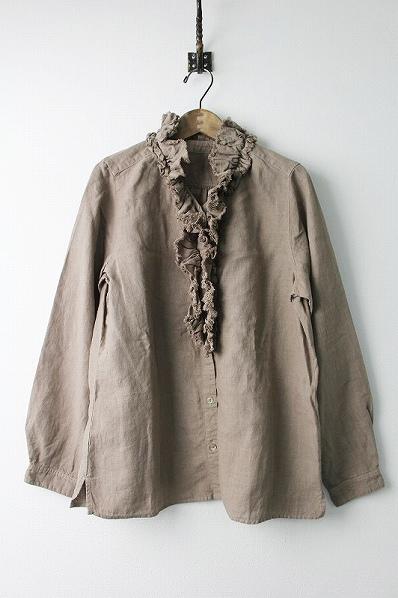 01173-1016-1 リネン フリル フロント シャツ