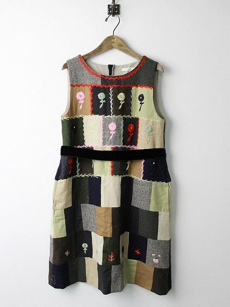 花刺繍 パッチワーク ワンピース