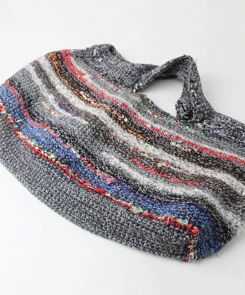 ウールニット 編みバッグ