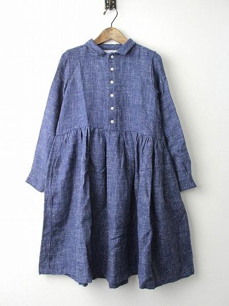 ウール×リネン シャツドレス